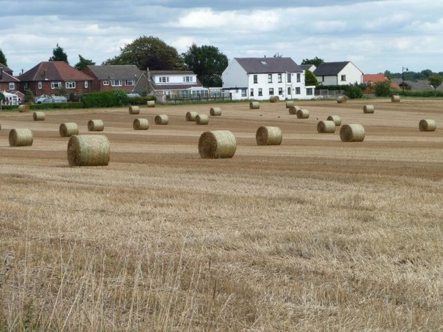 Straw bales on the west side of the village