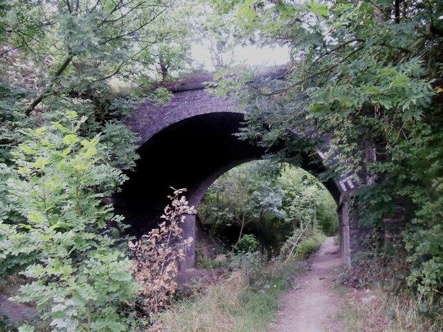 Public footpath under disused railway bridge