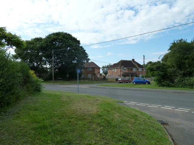 Looking from Lawford Way across Water Lane towards Bishops Close