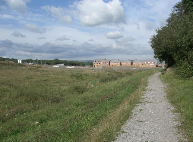 Public footpath heading towards new housing at Aberkenfig