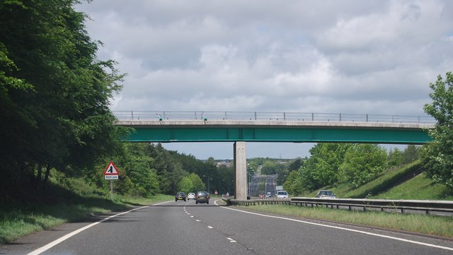 A1, overbridge near Shotton