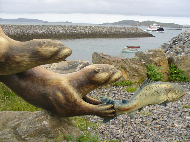 Otters at Barra Ferry
