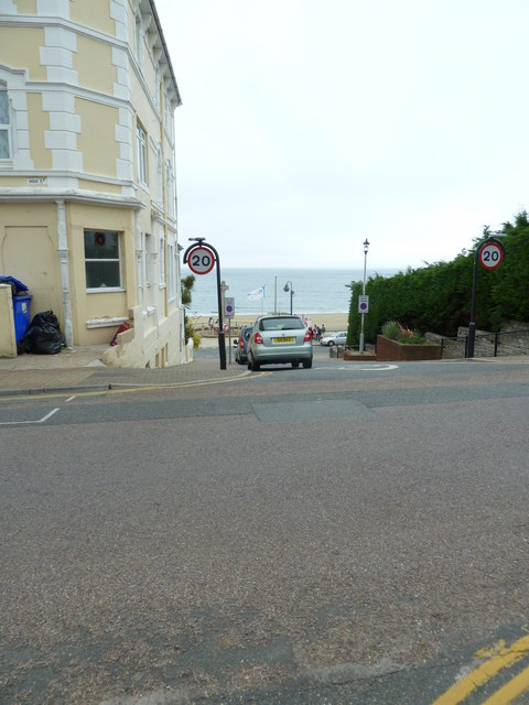 The sea glimpsed from High Street