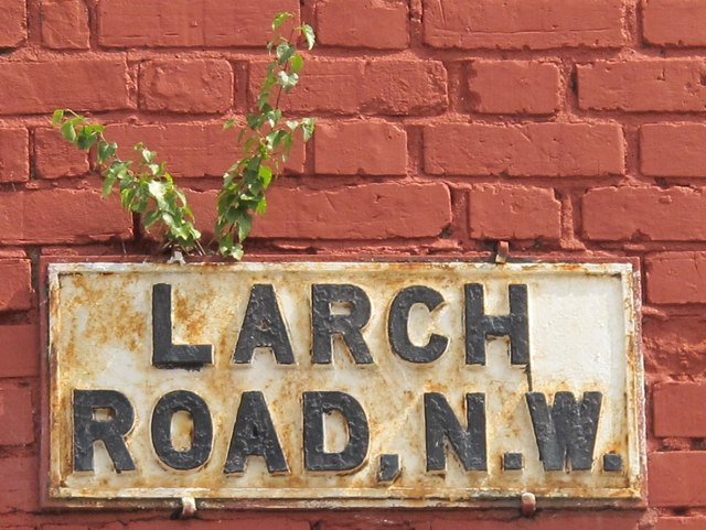 Sign for Larch Road, NW2