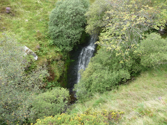 Waterfall beside the Beacons Way below Craig y Fan Ddu