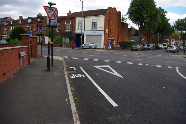 Cycle lane on Oakfield Road, Selly Park
