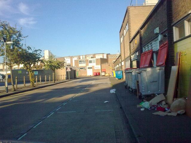 Rear of shops, Eastgate Walk