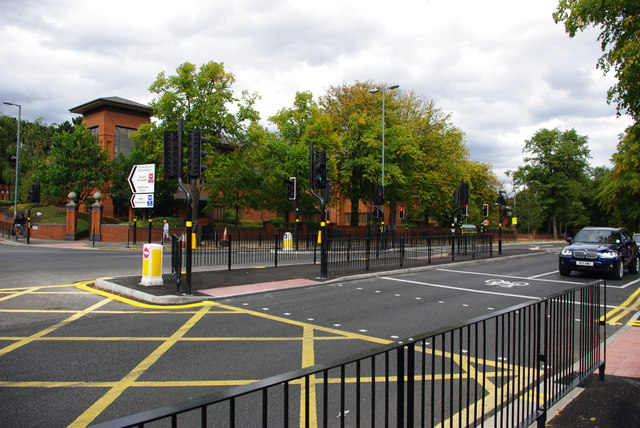 Pedestrian crossings and box junction on Bristol Road, Bournbrook