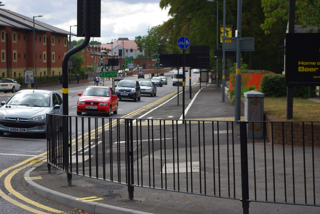 Pedestrian railings at the junction of Bristol Road and Edgbaston Park Road, Bournbrook