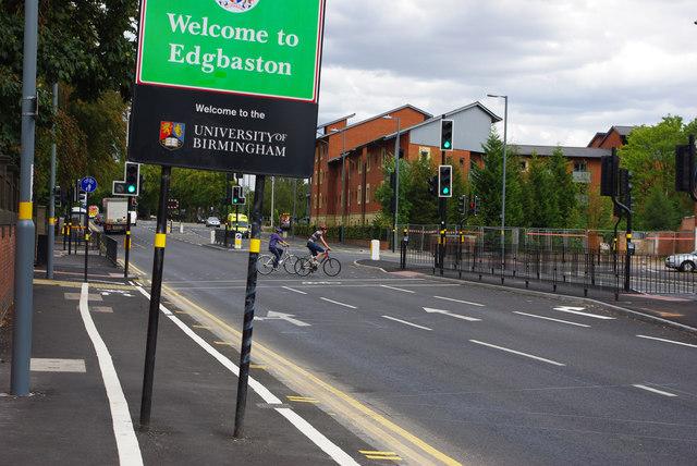Welcome to Edgbaston - sign on Bristol Road, Bournbrook