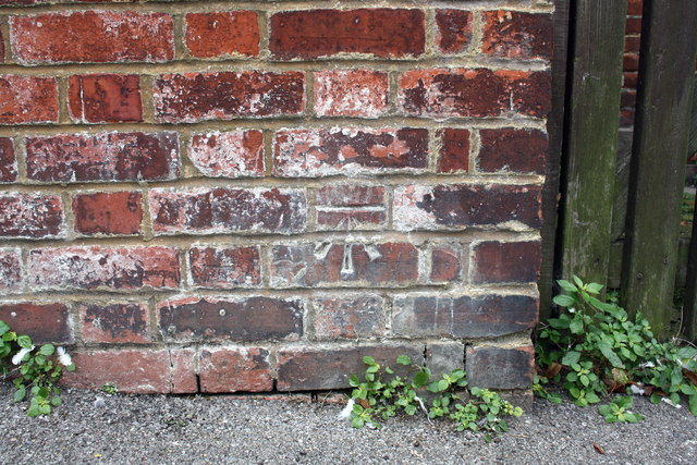 Benchmark on wall at NW end of Cholmeley Road