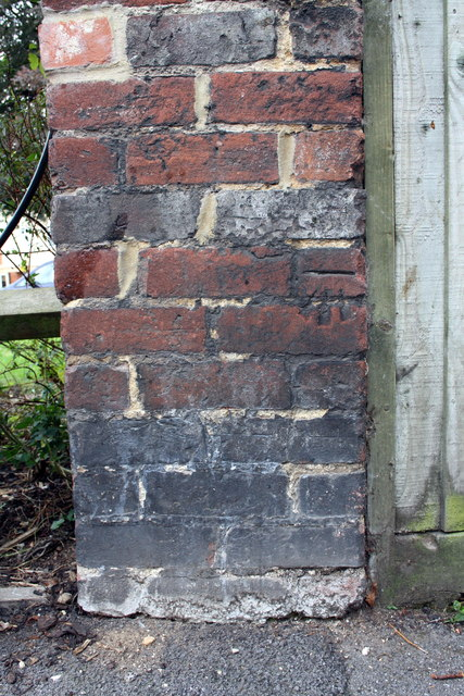 Benchmark on wall of the now demolished The Eastgate pub