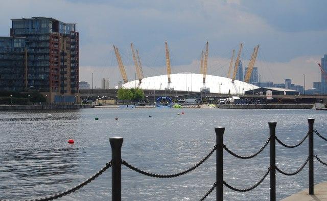 O2 Arena seen across Royal Victoria Dock