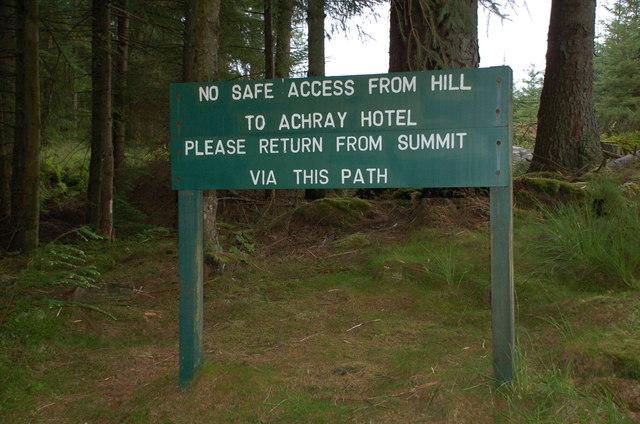 Warning notice, path to Ben Venue
