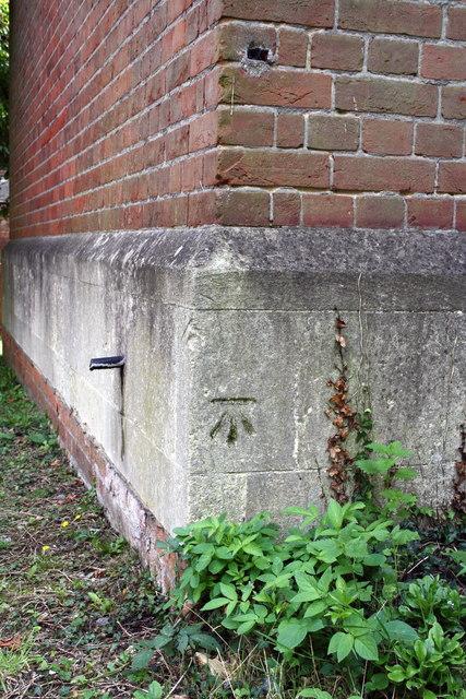 Benchmark on St Bartholomew's Church, off London Road