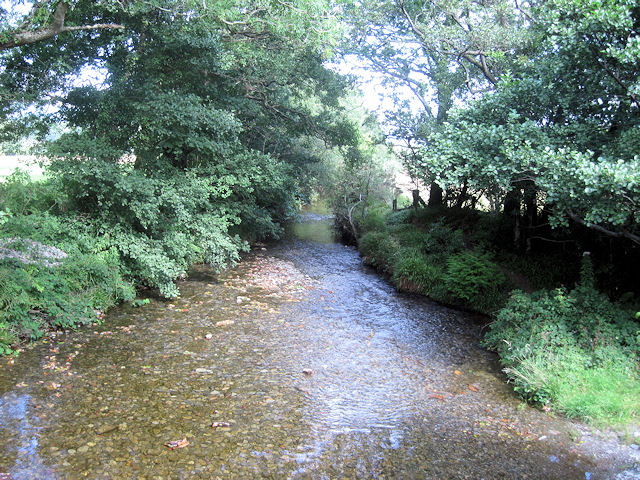 Stream and ford from Ynys Hir bridge looking north