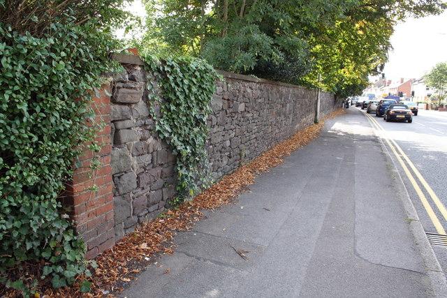 Cemetery wall, London Road