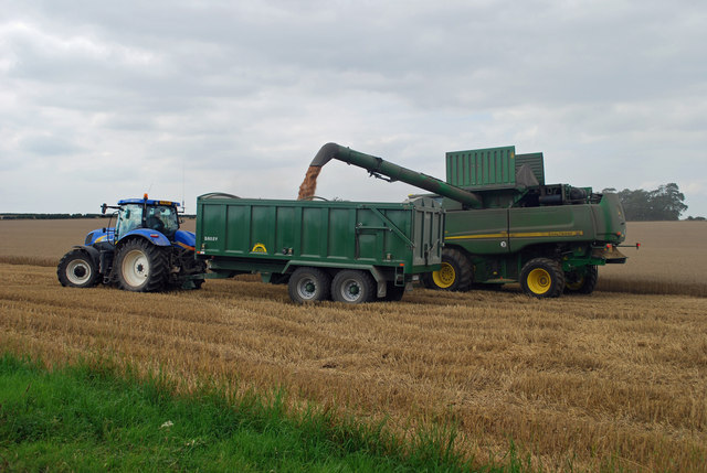 Harvesting near North Wold Farm
