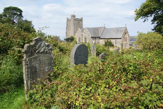 Overgrown churchyard of St Mary's, Newport