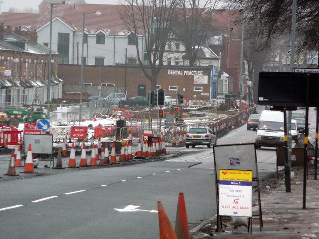 Roadworks on Bristol Road, Bournbrook
