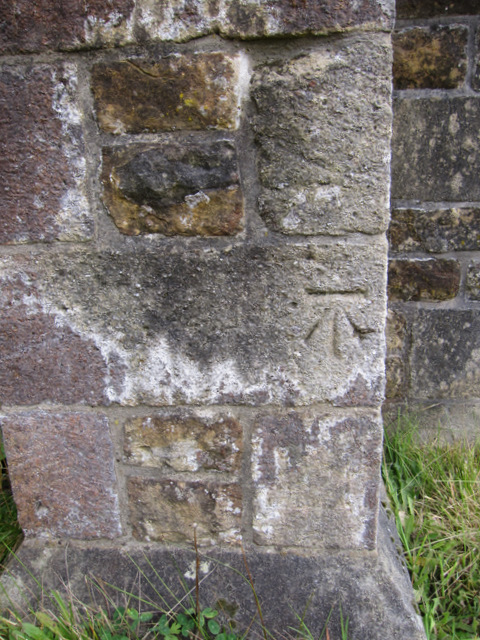 Bench mark on St James' church, Dalehead, Tosside