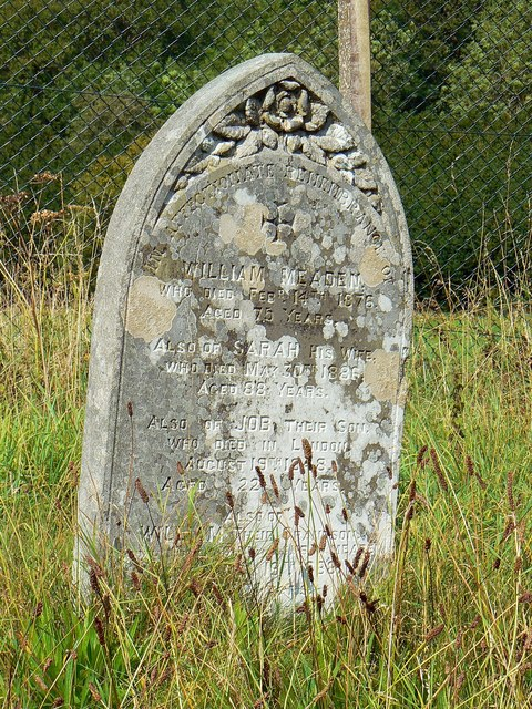 Gravestone of William and Sarah Meaden, St Giles' Church, Imber
