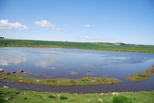 Flooded area below Dunstanburgh Castle