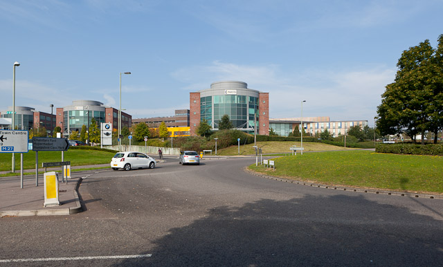 Roundabout and offices in Stoney Croft Rise