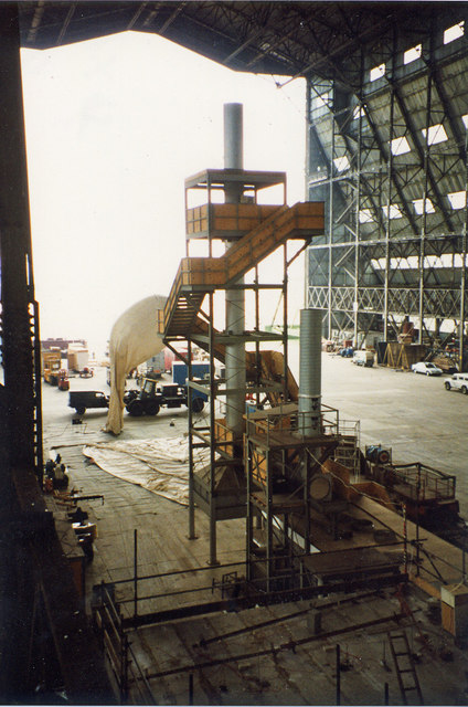 Airship Hangar No. 2 - interior view to west in 1994