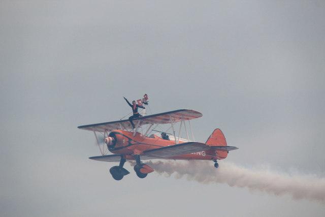 Wingwalker bids Farewell, Clacton Airshow, Essex