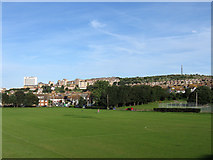 TQ3303 : Football Pitches, East Brighton Park by Simon Carey