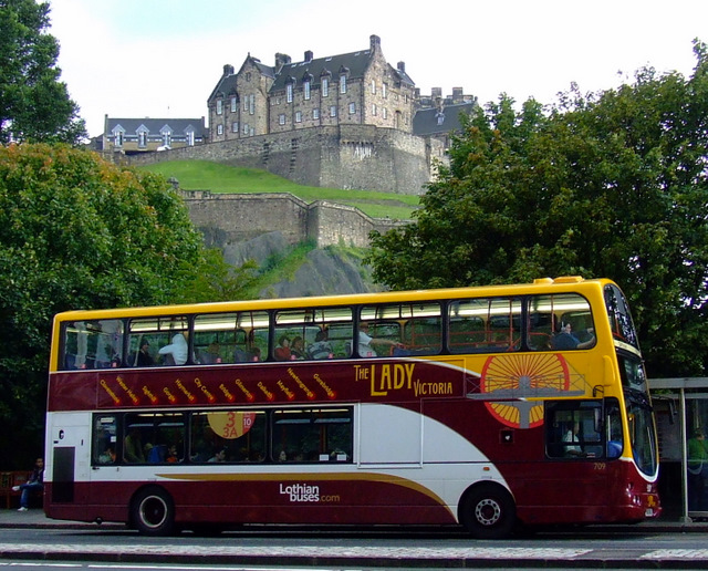 Princes Street, bus and castle