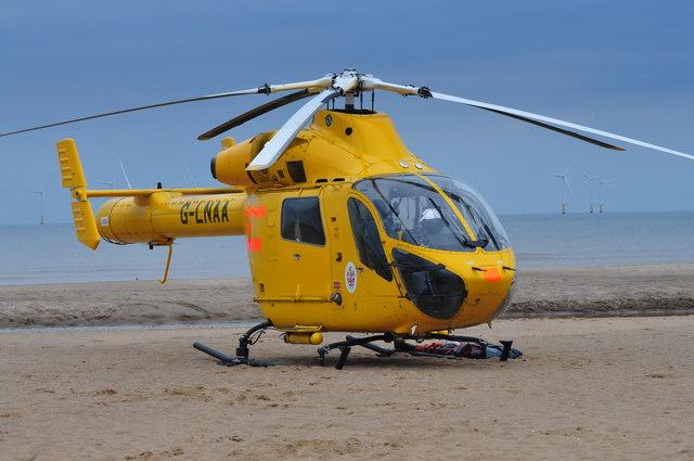 Funfair Accident Air Ambulance on Beach