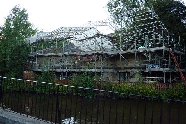 Scaffolding at the rear of Hebden Bridge Little Theatre