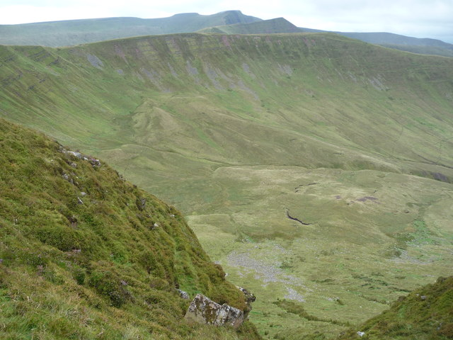 View down into Cwm Oergwm with the Brecon Beacons beyond