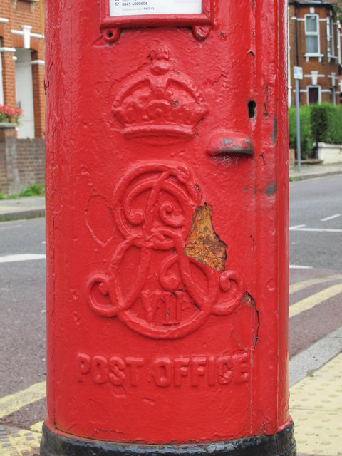 Edward VII postbox, Olive Road / Sneyd Road, NW2 - royal cipher