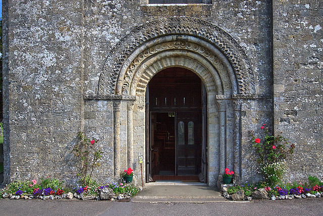 St Mary's church west doorway, Portchester Castle