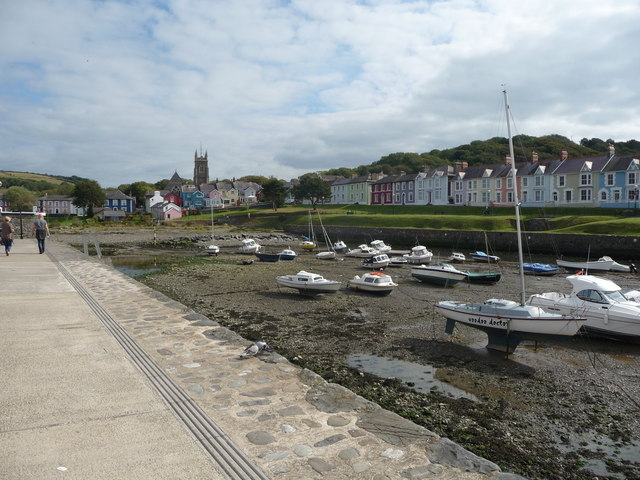 Part of Aberaeron Harbour and town