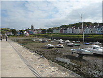 SN4562 : Part of Aberaeron Harbour and town by Jeremy Bolwell