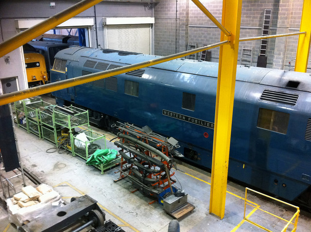 D1023 'Western Fusilier' in the workshop at the National Railway Museum, York