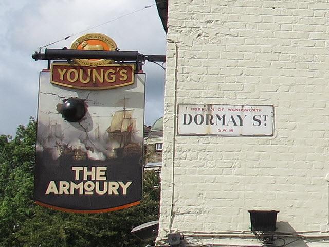 Inn sign for the Armoury