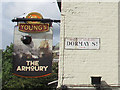 TQ2574 : Inn sign for the Armoury by Stephen Craven