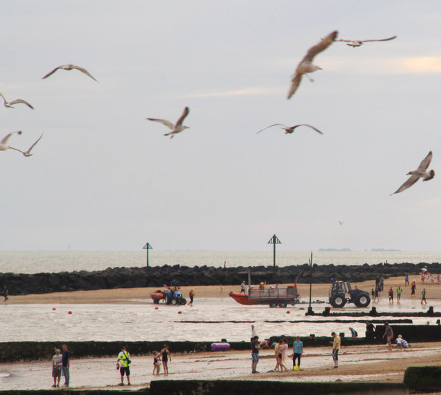 Bringing the Lifeboat home, Clacton, Essex