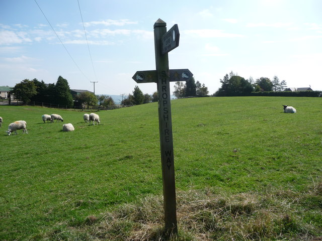 Waymarker on the Shropshire Way near the Stiperstones