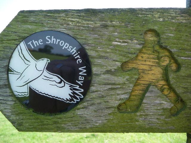 The Shropshire Way waymarker disc, detail