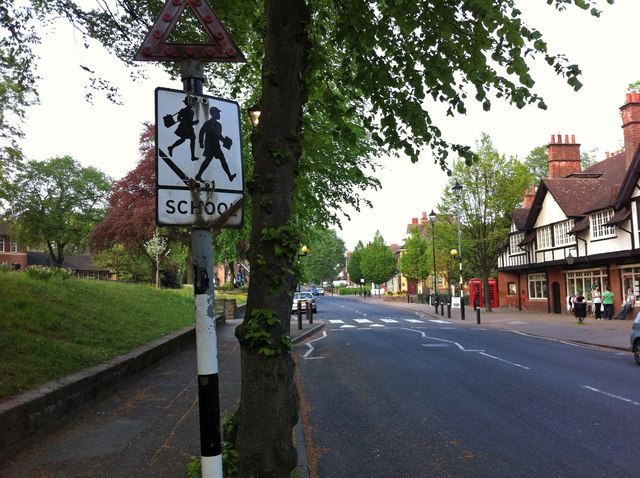 Pre-Worboys school sign on Sycamore Road by Bournville village green