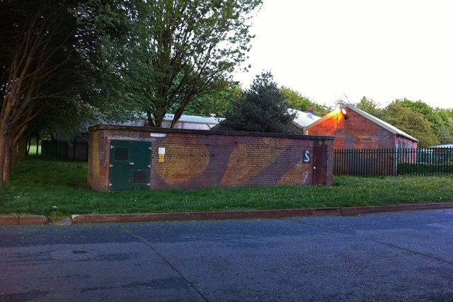 Camouflaged buildings at Turn Moss Playing Fields, Stretford (former Heavy Anti-Aircraft battery)