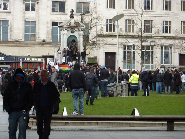 Demonstration in Piccadilly Gardens