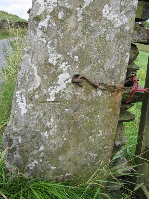 Bench mark on a stone gatepost in Goat Lane