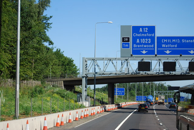1 mile to junction 28, M25